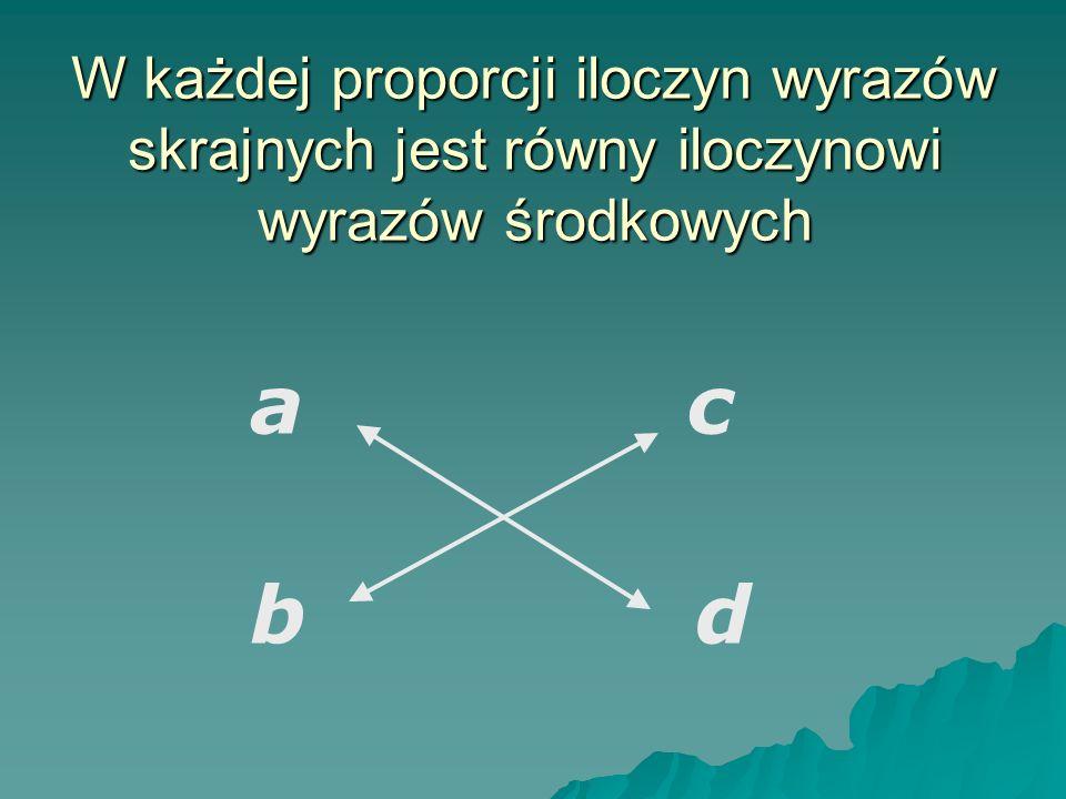 W każdej proporcji iloczyn wyrazów skrajnych jest równy iloczynowi wyrazów środkowych ac bd