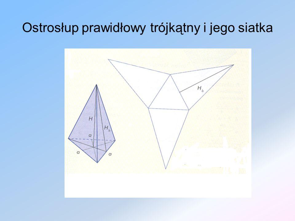 OSTROSŁUPY PRAWIDŁOWE W ostrosłupie prawidłowym: Podstawa jest wielokątem foremnym, Ściany boczne są przystającymi trójkątami równoramiennymi.