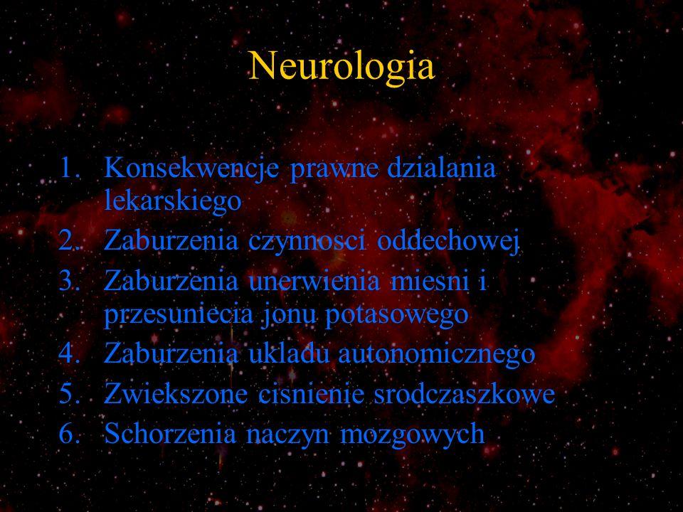 Neurologia 1.Konsekwencje prawne dzialania lekarskiego 2.Zaburzenia czynnosci oddechowej 3.Zaburzenia unerwienia miesni i przesuniecia jonu potasowego