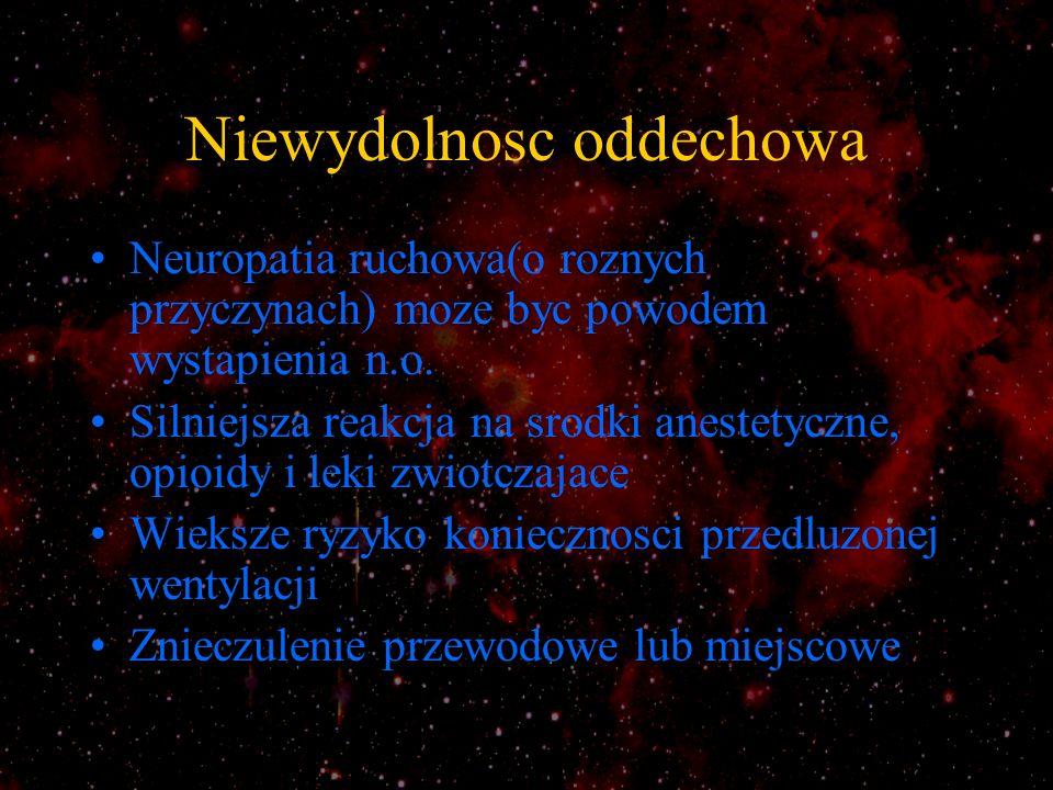 Zaburzenia unerwienia miesni i przesuniecia jonu potasowego Zmieniony st.K wewnatrz- i zewnatrzkomorkowy wywoluje uwrazliwienie na dzialanie niedepolaryzujacych, i opornosc na dzialanie depolaryzyjacych srodkow zwiotczajacych *Zjawisko wyplywu jonu K z kom.miesniowych obserwuje sie w:uszkodzeniu g.n.ruchowego, rdzenia kregowego,w ch.d.n.ruchowego(np.z.G-B) Zwiekszenie stez.K po podaniu suksametomium moze siegac 3mmol/l(u zdrowego 0.5) i moze wystapic od 24h do 6-12m.po odnerwieniu