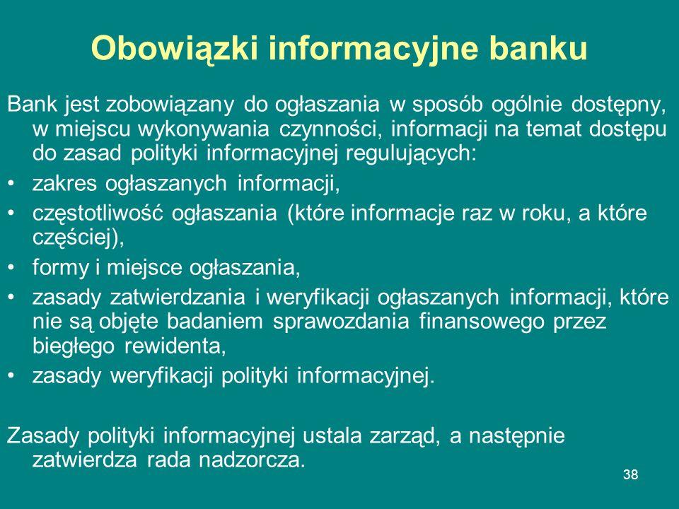 38 Obowiązki informacyjne banku Bank jest zobowiązany do ogłaszania w sposób ogólnie dostępny, w miejscu wykonywania czynności, informacji na temat do