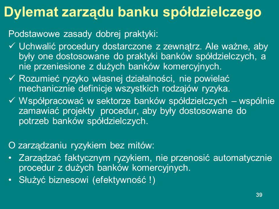 39 Dylemat zarządu banku spółdzielczego Podstawowe zasady dobrej praktyki: Uchwalić procedury dostarczone z zewnątrz. Ale ważne, aby były one dostosow