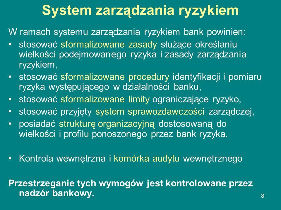 8 System zarządzania ryzykiem W ramach systemu zarządzania ryzykiem bank powinien: stosować sformalizowane zasady służące określaniu wielkości podejmo