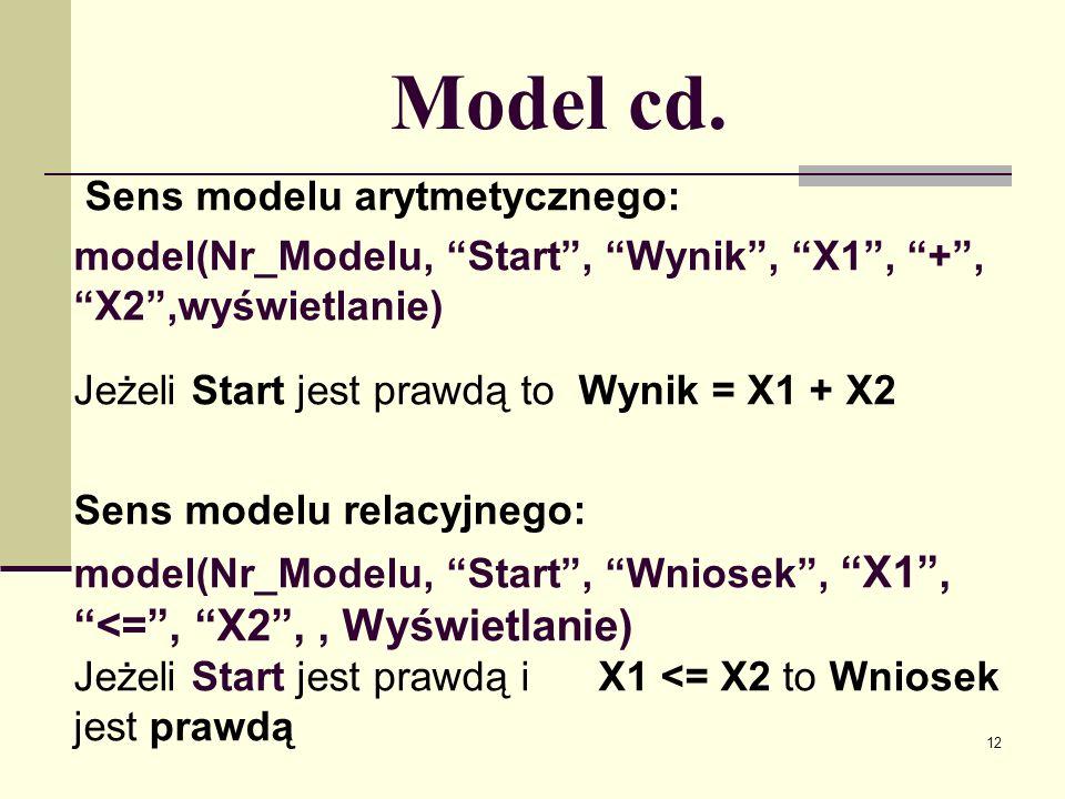 13 Zagnieżdżanie modeli Zagnieżdżanie modeli arytmetycznych: wynik jednego modelu może być argumentem innego modelu.