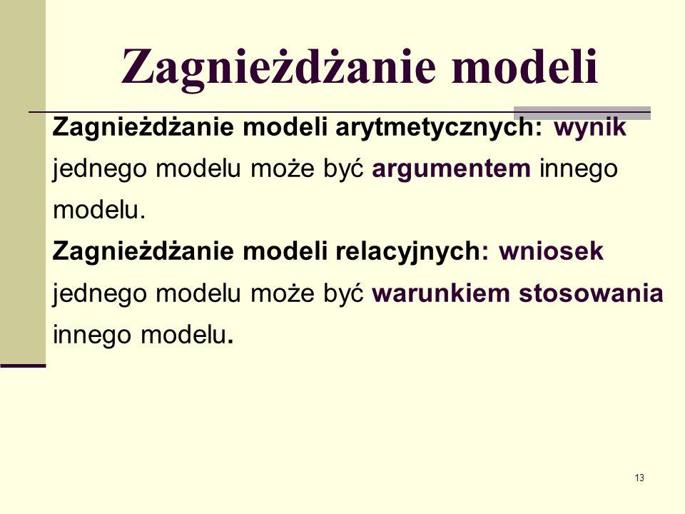 14 Zagnieżdżanie modeli Modele relacyjne i reguły mogą się zagnieżdżać: wniosek modelu relacyjnego może być warunkiem reguły: model(N, War_start_M, Wniosek_N, A, R_N, B, 1]) regula(M, Wniosek_M, [...,Wniosek_N,..])
