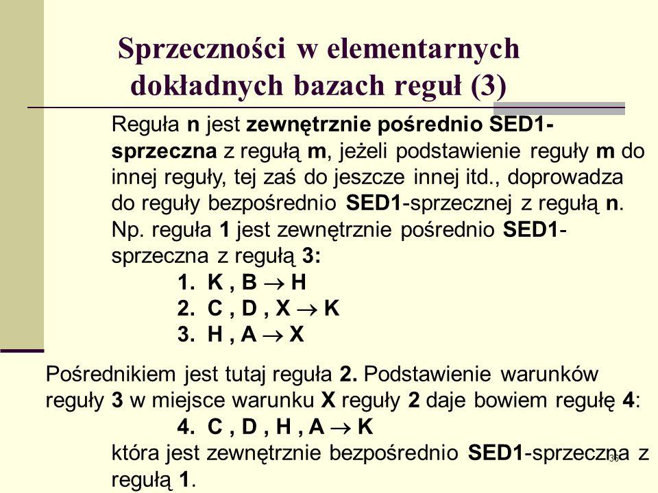 37 Nadmiarowości w elementarnych dokładnych bazach reguł (1) 1.