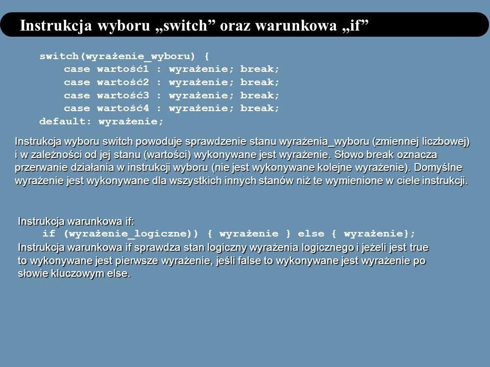 Instrukcja wyboru switch oraz warunkowa if switch(wyrażenie_wyboru) { case wartość1 : wyrażenie; break; case wartość2 : wyrażenie; break; case wartość3 : wyrażenie; break; case wartość4 : wyrażenie; break; default: wyrażenie; Instrukcja wyboru switch powoduje sprawdzenie stanu wyrażenia_wyboru (zmiennej liczbowej) i w zależności od jej stanu (wartości) wykonywane jest wyrażenie.