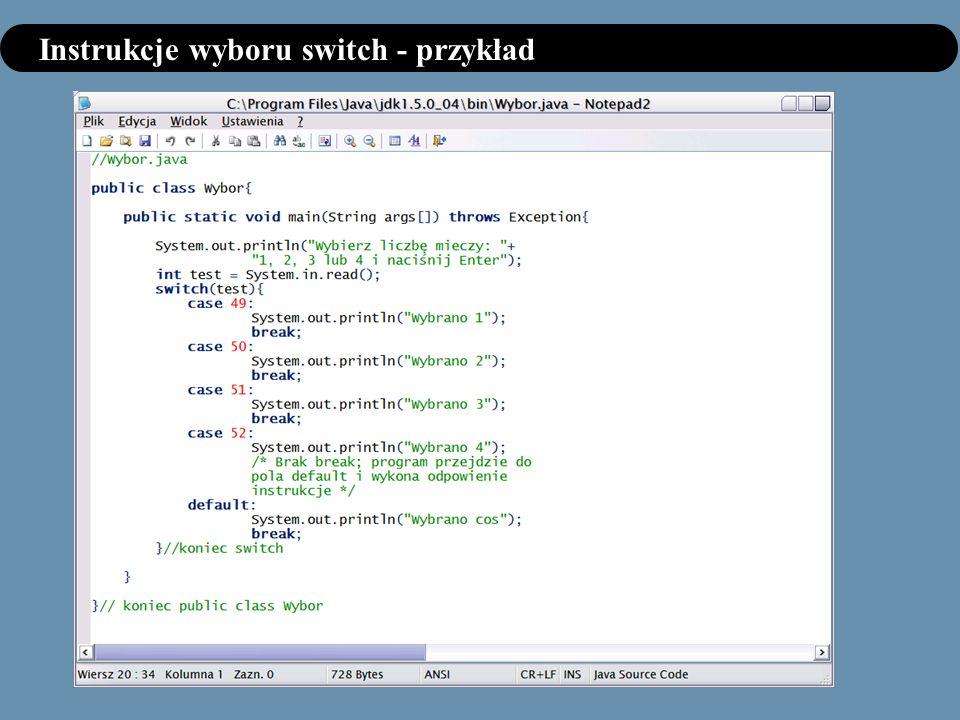 Instrukcje wyboru switch - przykład