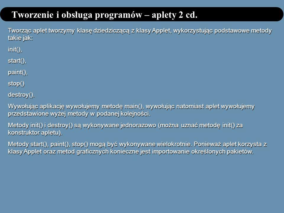 Tworzenie i obsługa programów – aplety 2 cd. Tworząc aplet tworzymy klasę dziedziczącą z klasy Applet, wykorzystując podstawowe metody takie jak: init