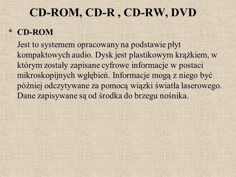 CD-ROM, CD-R, CD-RW, DVD *CD-ROM Jest to systemem opracowany na podstawie płyt kompaktowych audio. Dysk jest plastikowym krążkiem, w którym zostały za