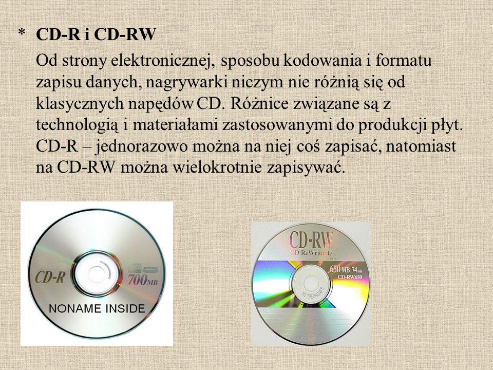 *CD-R i CD-RW Od strony elektronicznej, sposobu kodowania i formatu zapisu danych, nagrywarki niczym nie różnią się od klasycznych napędów CD. Różnice