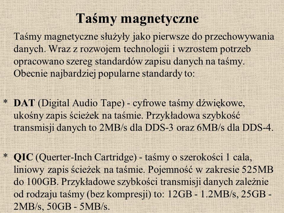 Taśmy magnetyczne Taśmy magnetyczne służyły jako pierwsze do przechowywania danych. Wraz z rozwojem technologii i wzrostem potrzeb opracowano szereg s