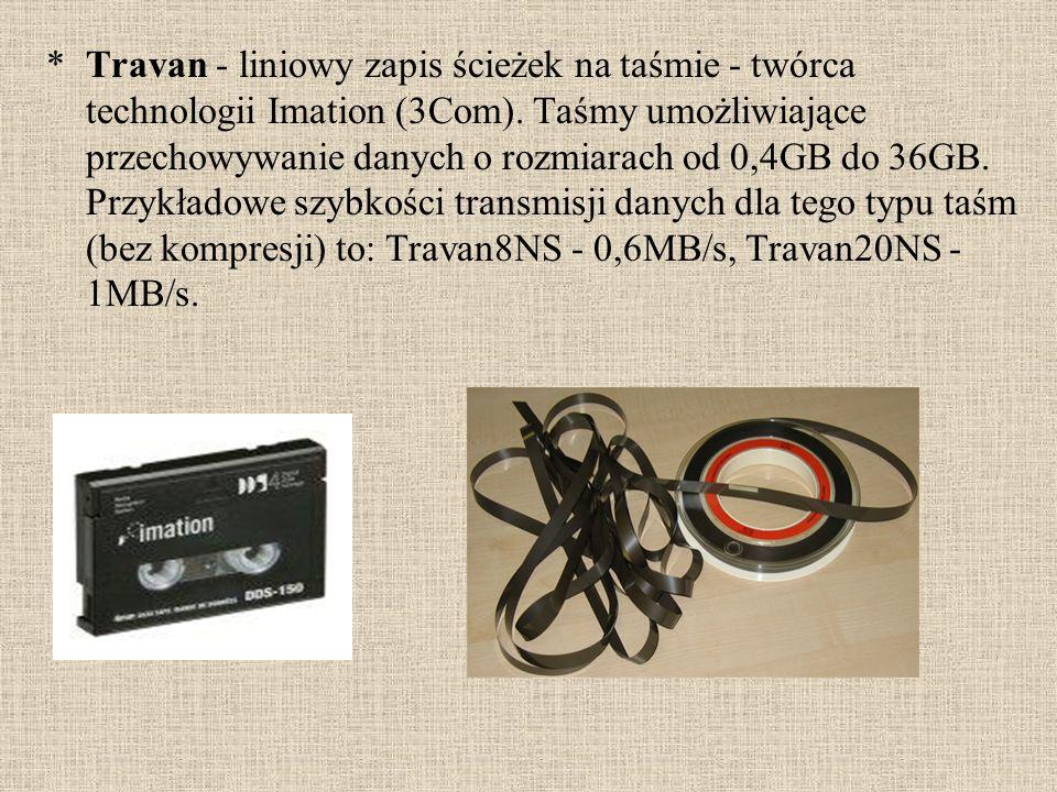 *Travan - liniowy zapis ścieżek na taśmie - twórca technologii Imation (3Com). Taśmy umożliwiające przechowywanie danych o rozmiarach od 0,4GB do 36GB