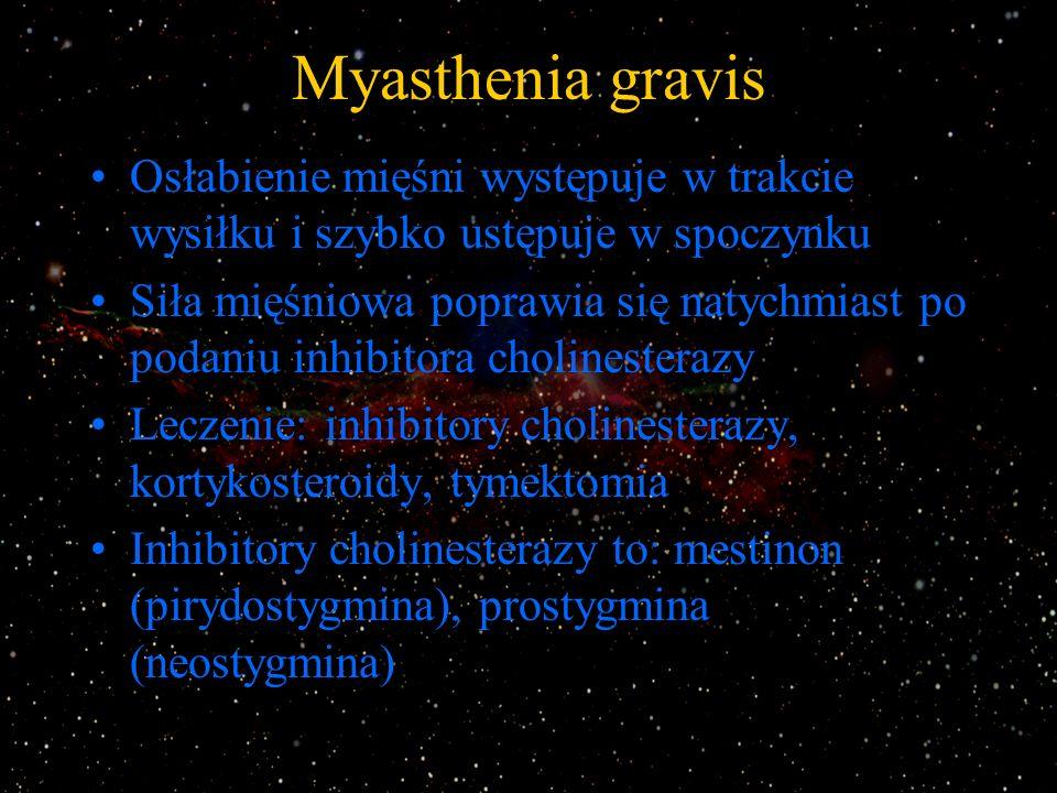 Myasthenia gravis Osłabienie mięśni występuje w trakcie wysiłku i szybko ustępuje w spoczynku Siła mięśniowa poprawia się natychmiast po podaniu inhib