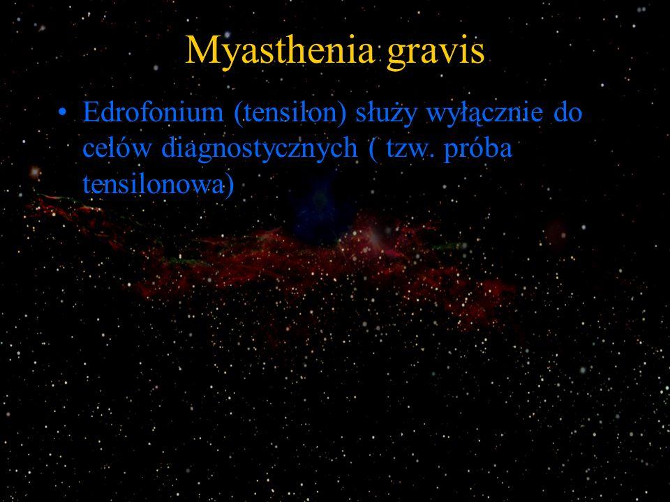 Myasthenia gravis Edrofonium (tensilon) służy wyłącznie do celów diagnostycznych ( tzw. próba tensilonowa)