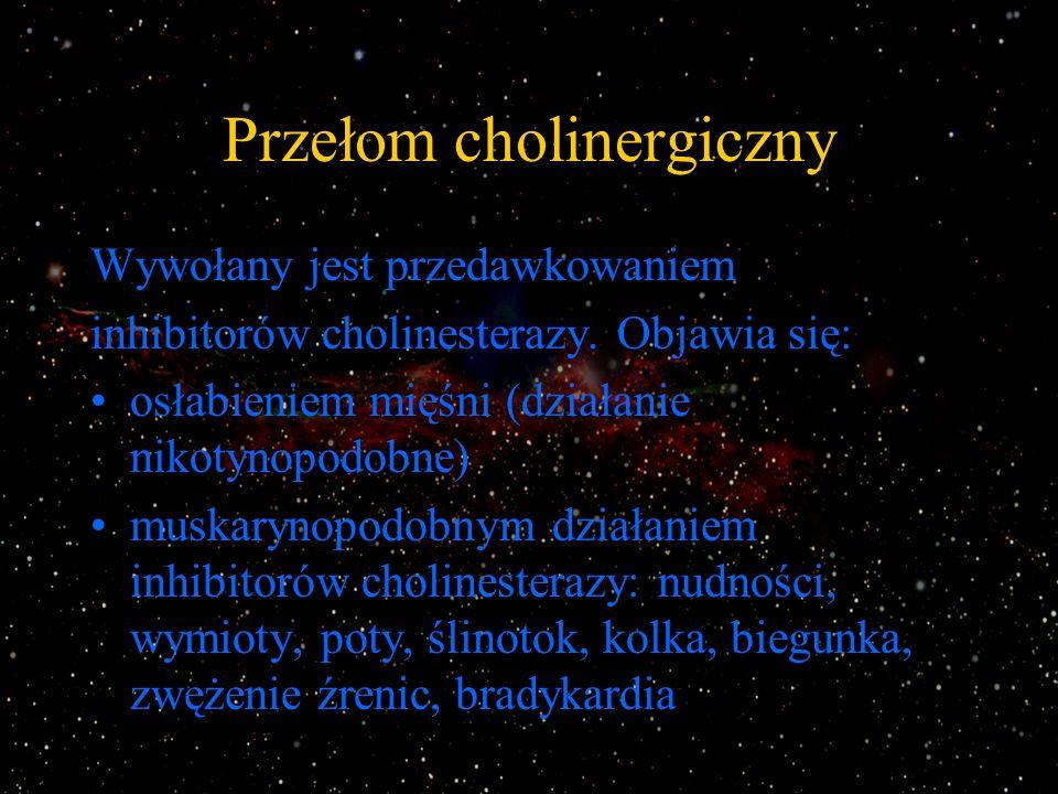 Przełom cholinergiczny Wywołany jest przedawkowaniem inhibitorów cholinesterazy. Objawia się: osłabieniem mięśni (działanie nikotynopodobne) muskaryno