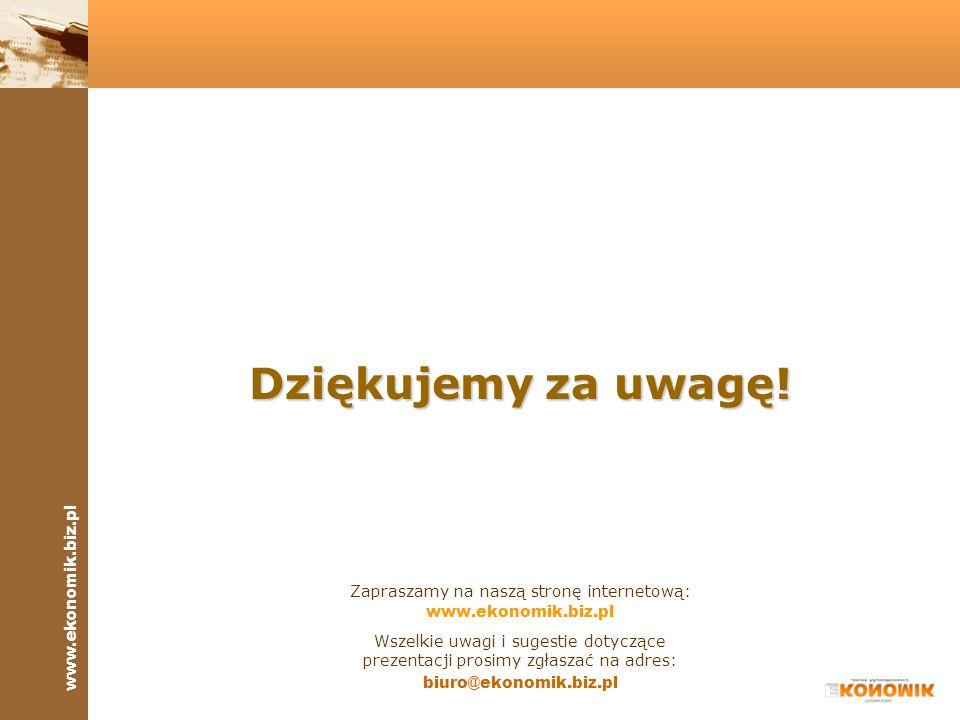 www.ekonomik.biz.pl Dziękujemy za uwagę! Zapraszamy na naszą stronę internetową: www.ekonomik.biz.pl Wszelkie uwagi i sugestie dotyczące prezentacji p
