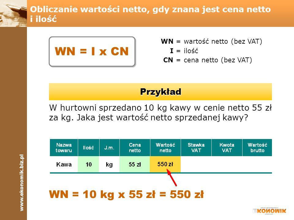 www.ekonomik.biz.pl Obliczanie kwoty podatku, gdy znana jest wartość netto i stawka podatku KP =kwota podatku VAT WN =wartość netto SP =stawka podatku VAT Przykład W hurtowni sprzedano kawę o wartości netto 550 zł.