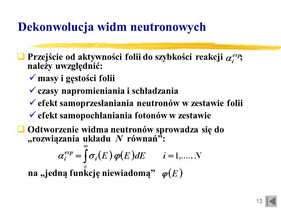14 Dekonwolucja widm neutronowych Standardowe kody do odtwarzania widm neutronowych: Zalecane stosowanie algorytmów przeznaczonych do danego typu widm; opracowanie nowych (np.: algorytm wariacyjny, zmodyfikowany algorytm kodu SAND - opracowywane w IEA) Wspomagające obliczenia Monte-Carlo: üJako pierwsze przybliżenie w algorytmach iteracyjnych üDo weryfikacji C/E üSAND-II i zmodyfikowany MSANDB üLSL-M2 (logarytmiczna metoda najmniejszych kwadratów) üSTAYNL (liniowa metoda najmniejszych kwadratów) üMIEKEB (fit Monte Carlo)