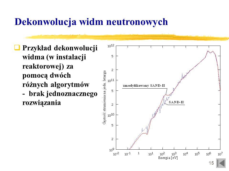 16 Dekonwolucja widm neutronowych Możliwości określenia parametrów widmowych układu PF za pomocą detektorów aktywacyjnych Pik gaussowski, stałe przekroje czynne w obszarze piku - możliwość określenia całkowitej intensywności źródła neutronów (całka pod pikiem) Przesunięty pik gaussowski, liniowe przekroje czynne - możliwość określenia wielkości przesunięcia