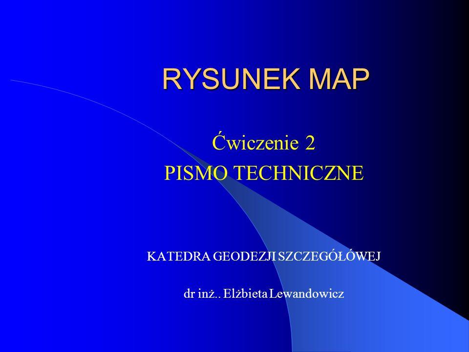 Pismo techniczne PN-EN ISO 3098 (PN-80/N-01606) rodzaje pisma PISMO TYPU A [d=(h/14)] PISMO TYPU B [d=(h/10)] -d - grubość linii pisma - h - wysokość pisma Rozróżnia się wysokość pisma: 1,3 mm, 1,8 mm, 2,5mm, 3.5mm 5,0 mm, 7,0 mm, 10 mm, 14 mm, 20 mm proste, pochyłe