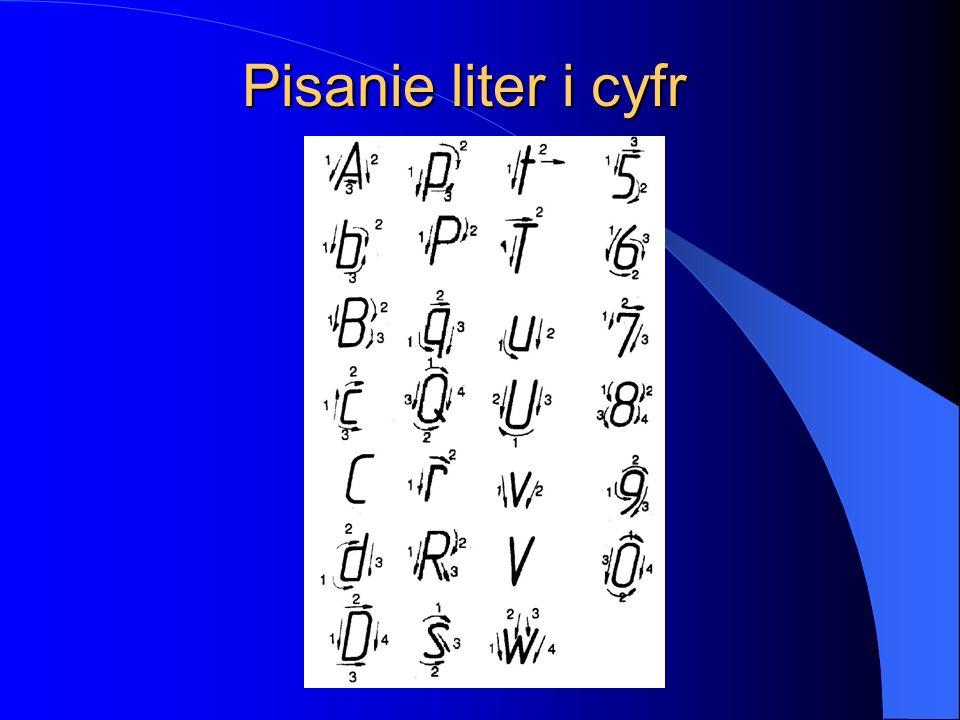 Pisanie liter i cyfr