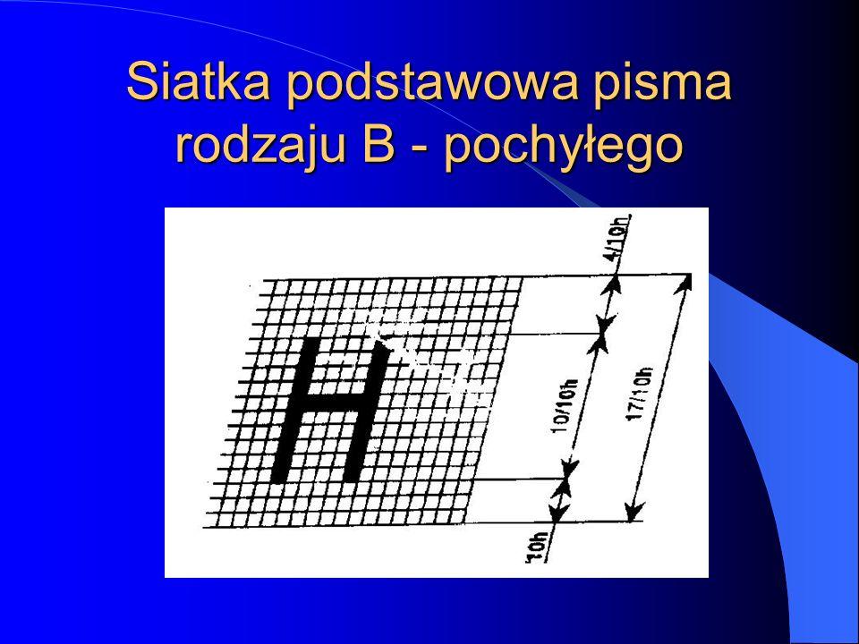Siatka podstawowa pisma rodzaju B - pochyłego