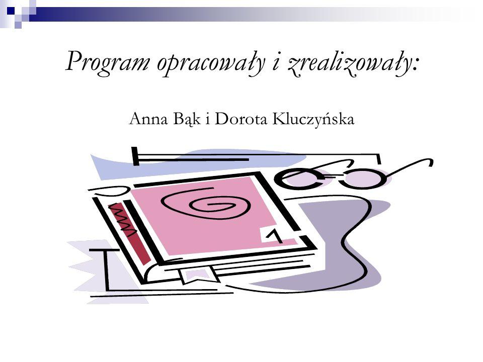 Program opracowały i zrealizowały: Anna Bąk i Dorota Kluczyńska