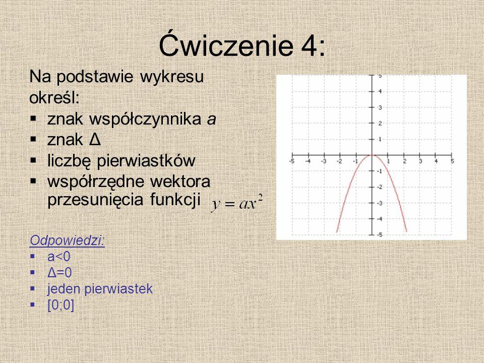 Ćwiczenie 4: Na podstawie wykresu określ: znak współczynnika a znak Δ liczbę pierwiastków współrzędne wektora przesunięcia funkcji Odpowiedzi: a<0 Δ=0