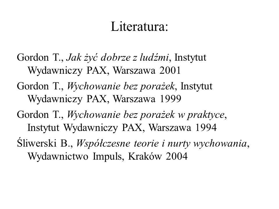 Gordon T., Jak żyć dobrze z ludźmi, Instytut Wydawniczy PAX, Warszawa 2001 Gordon T., Wychowanie bez porażek, Instytut Wydawniczy PAX, Warszawa 1999 G