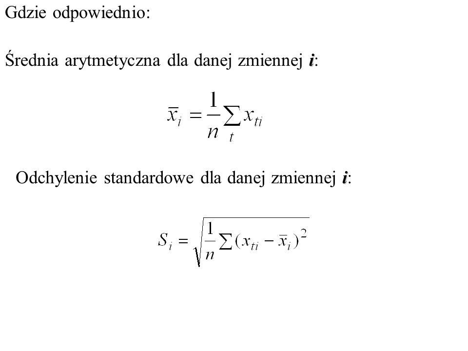 Dobór zmiennych objaśniających do modelu ekonometrycznego Eliminacja zmiennych quasi stałych Obliczamy współczynniki zmienności dla poszczególnych zmi