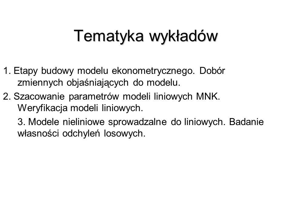 EKONOMETRIA EKONOMETRIA Prof. dr hab. Grażyna Karmowska GKarmowska@zpsb.szczecin.pl