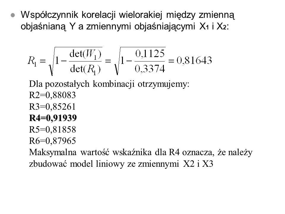 l K 1 =X 1, X 2 l K 2 =X 1, X 3 l K 3 =X 1, X 4 l K 4 =X 2, X 3 l K 5 =X 2, X 4 l K 6 =X 3, X 4_ Dla kombinacji K1:
