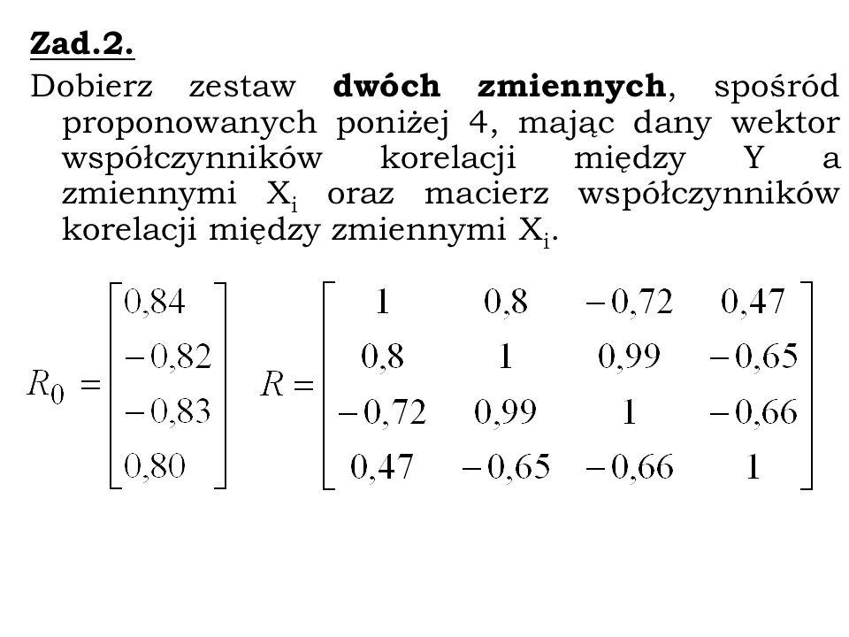 Zad. 1. Do budowy liniowego modelu ekonometrycznego zaproponowano 4 zmienne: X1, X2, X3, X4.Wektor współczynników korelacji między zmienną Y (wartość
