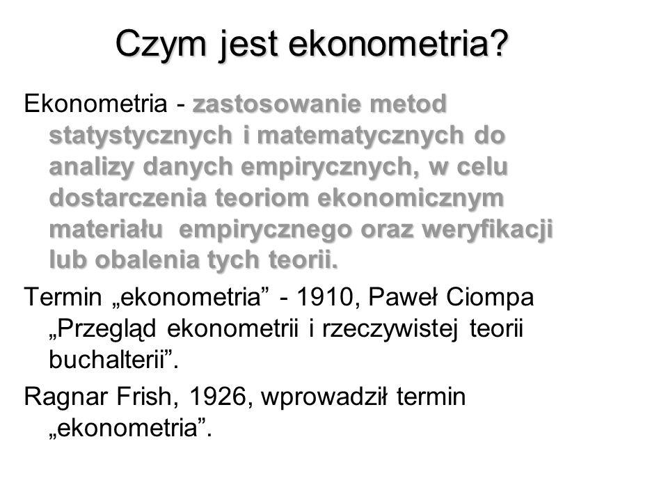 Literatura 1. B. Borkowski, H. Dudek, W. Szczęsny Ekonometria. Wybrane zagadnienia. PWN 2003 2. E. Nowak S., Zarys metod ekonometrii. Zbiór zadań.PWN