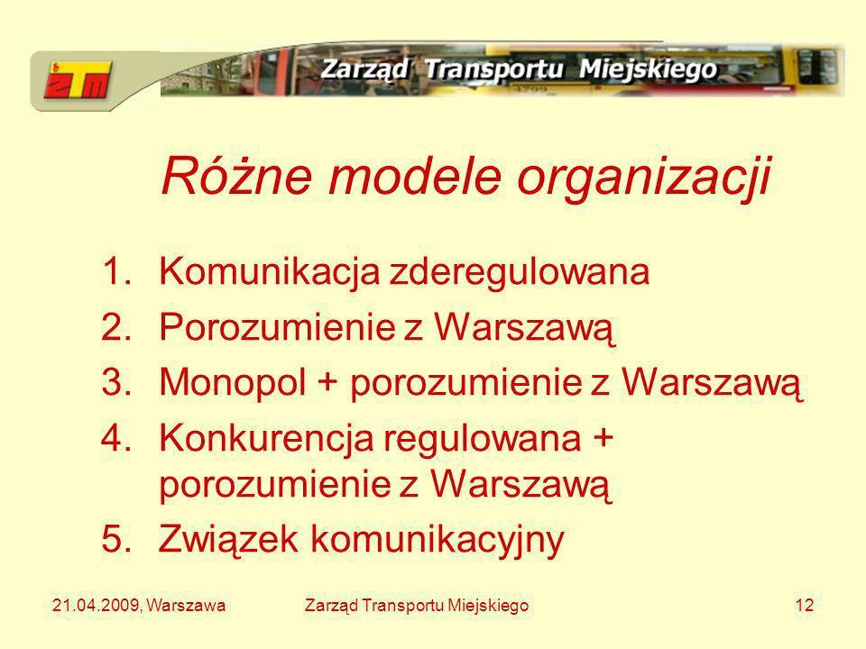 21.04.2009, WarszawaZarząd Transportu Miejskiego12 Różne modele organizacji 1.Komunikacja zderegulowana 2.Porozumienie z Warszawą 3.Monopol + porozumi