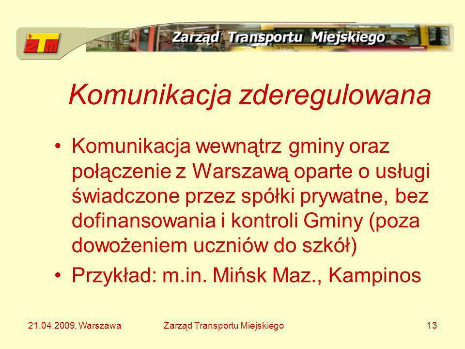 21.04.2009, WarszawaZarząd Transportu Miejskiego13 Komunikacja zderegulowana Komunikacja wewnątrz gminy oraz połączenie z Warszawą oparte o usługi świ