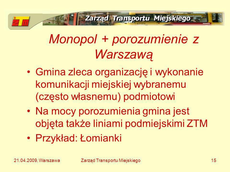 21.04.2009, WarszawaZarząd Transportu Miejskiego15 Monopol + porozumienie z Warszawą Gmina zleca organizację i wykonanie komunikacji miejskiej wybrane