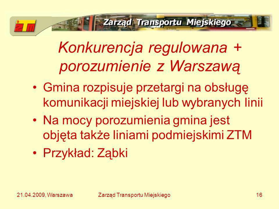 21.04.2009, WarszawaZarząd Transportu Miejskiego16 Konkurencja regulowana + porozumienie z Warszawą Gmina rozpisuje przetargi na obsługę komunikacji m