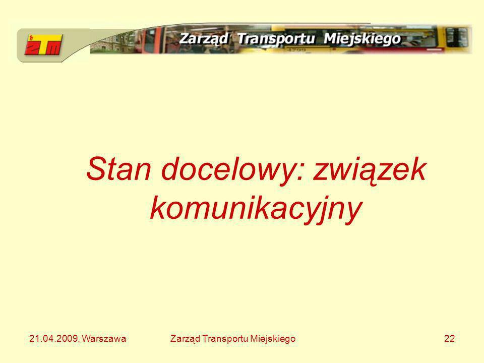21.04.2009, WarszawaZarząd Transportu Miejskiego22 Stan docelowy: związek komunikacyjny