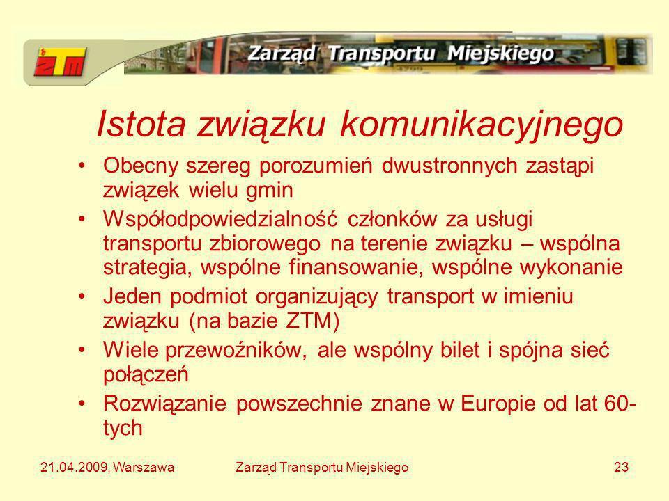 21.04.2009, WarszawaZarząd Transportu Miejskiego23 Istota związku komunikacyjnego Obecny szereg porozumień dwustronnych zastąpi związek wielu gmin Wsp
