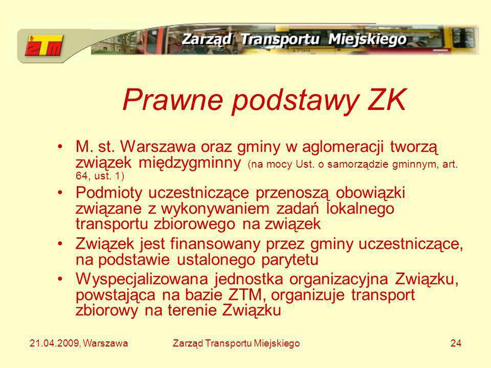 21.04.2009, WarszawaZarząd Transportu Miejskiego24 Prawne podstawy ZK M. st. Warszawa oraz gminy w aglomeracji tworzą związek międzygminny (na mocy Us