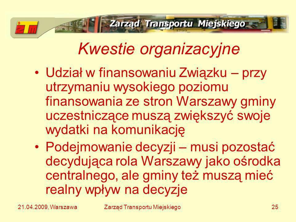 21.04.2009, WarszawaZarząd Transportu Miejskiego25 Kwestie organizacyjne Udział w finansowaniu Związku – przy utrzymaniu wysokiego poziomu finansowani