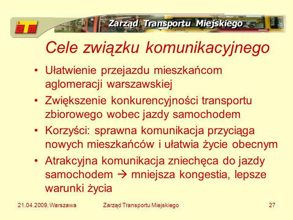 21.04.2009, WarszawaZarząd Transportu Miejskiego27 Cele związku komunikacyjnego Ułatwienie przejazdu mieszkańcom aglomeracji warszawskiej Zwiększenie