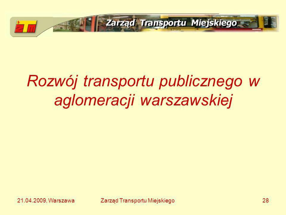 21.04.2009, WarszawaZarząd Transportu Miejskiego28 Rozwój transportu publicznego w aglomeracji warszawskiej