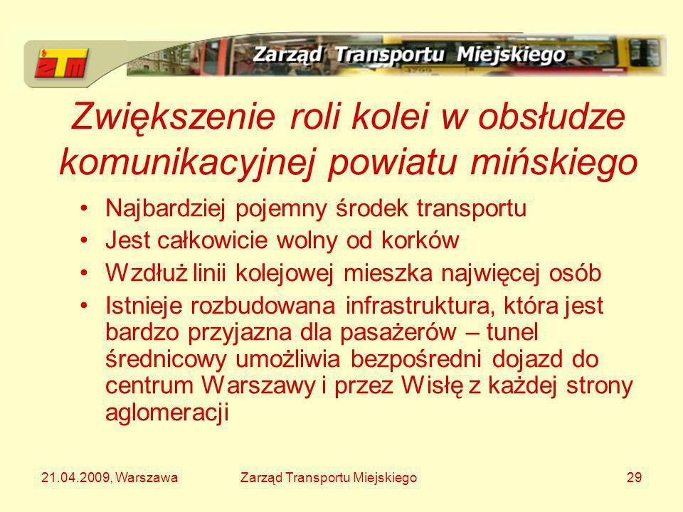 21.04.2009, WarszawaZarząd Transportu Miejskiego29 Zwiększenie roli kolei w obsłudze komunikacyjnej powiatu mińskiego Najbardziej pojemny środek trans