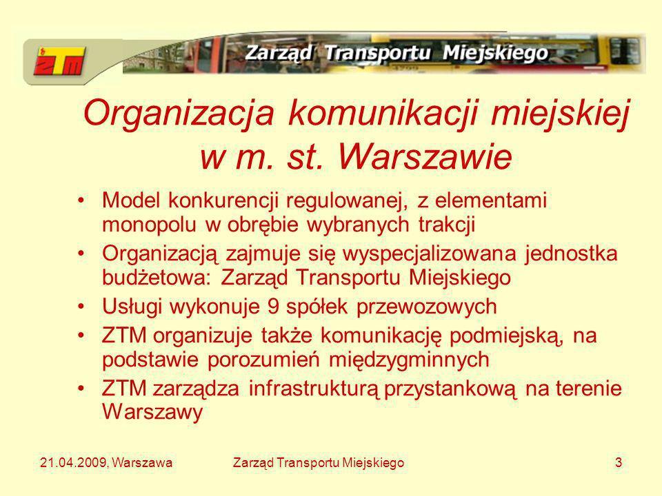 21.04.2009, WarszawaZarząd Transportu Miejskiego3 Organizacja komunikacji miejskiej w m. st. Warszawie Model konkurencji regulowanej, z elementami mon