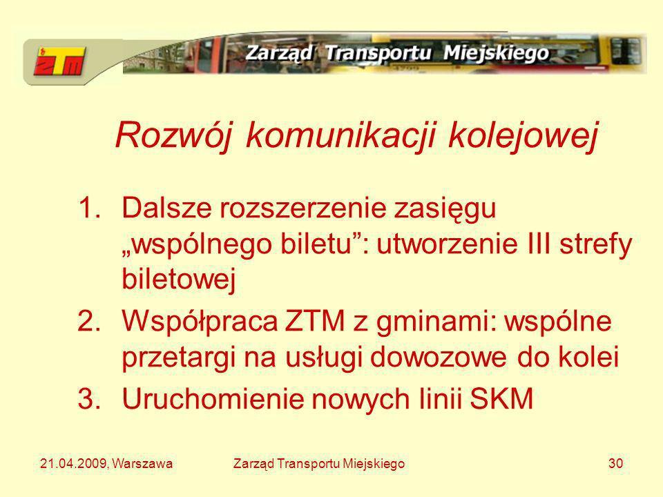 21.04.2009, WarszawaZarząd Transportu Miejskiego30 Rozwój komunikacji kolejowej 1.Dalsze rozszerzenie zasięgu wspólnego biletu: utworzenie III strefy