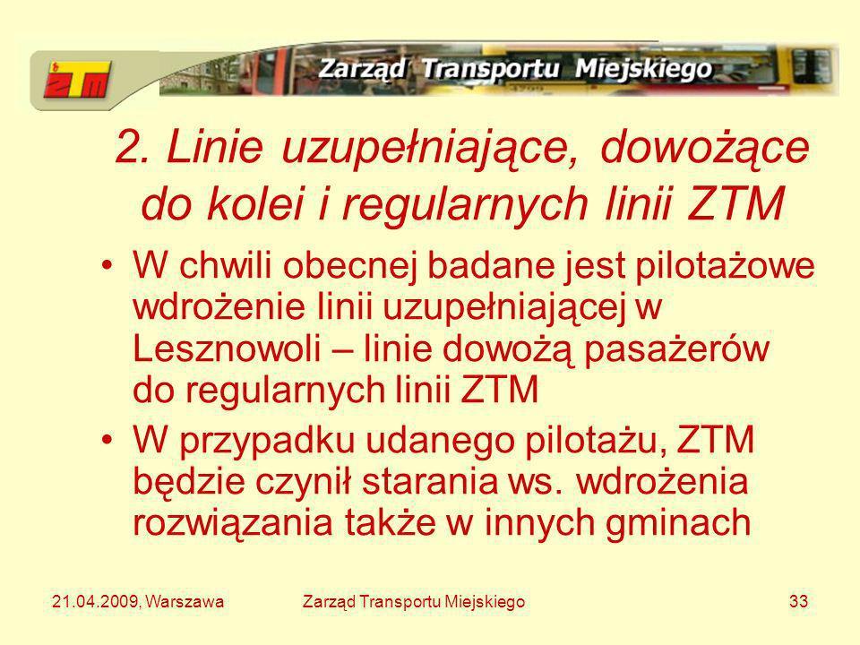 21.04.2009, WarszawaZarząd Transportu Miejskiego33 2. Linie uzupełniające, dowożące do kolei i regularnych linii ZTM W chwili obecnej badane jest pilo