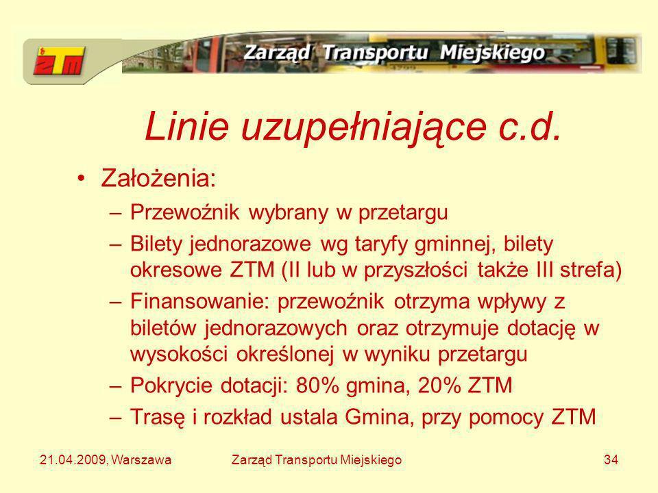 21.04.2009, WarszawaZarząd Transportu Miejskiego34 Linie uzupełniające c.d. Założenia: –Przewoźnik wybrany w przetargu –Bilety jednorazowe wg taryfy g